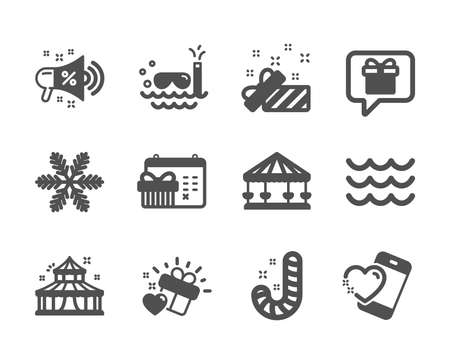 Set of Holidays icons, such as Wish list, Circus, Carousels, Love gift, Waves, Present, Heart, Christmas calendar, Sale megaphone, Candy, Snowflake, Scuba diving classic icons. Wish list icon. Vector