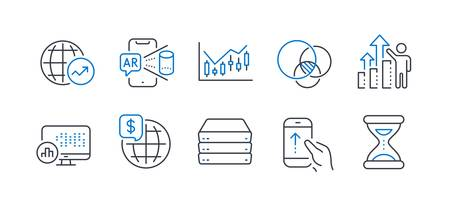 Set of Science icons, such as Financial diagram, World money, World statistics, Servers, Swipe up, Euler diagram, Report statistics, Augmented reality, Employee results, Time line icons. Vector Illustration