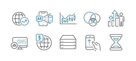 Set van wetenschapspictogrammen, zoals financieel diagram, wereldgeld, wereldstatistieken, servers, veeg omhoog, Euler-diagram, rapportstatistieken, augmented reality, werknemersresultaten, tijdlijnpictogrammen. Vector