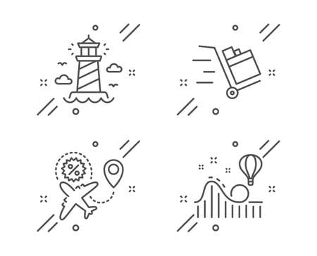 Push cart, Lighthouse and Flight sale line icons set. Roller coaster sign. Express delivery, Beacon tower, Travel discount. Attraction park. Transportation set. Line push cart outline icon. Vector