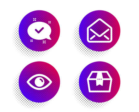 Approved, Eye and Mail icons simple set. Halftone dots button. Package box sign. Chat message, View or vision, E-mail. Delivery goods. Technology set. Classic flat approved icon. Vector