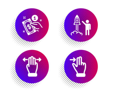 Payment method, Multitasking gesture and Launch project icons simple set. Halftone dots button. Touchscreen gesture sign. Give money, Swipe, Business innovation. Slide right. People set. Vector Stock Illustratie