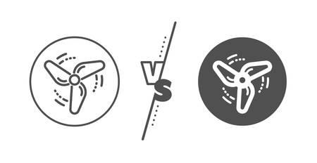 Fan engine, jet turbine sign. Versus concept. Wind energy line icon. Ventilator symbol. Line vs classic wind energy icon. Vector