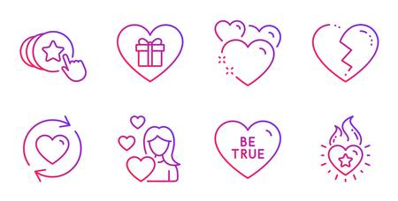Romantic gift, Update relationships and Heart line icons set. Hold heart, Love and Be true signs. Surprise with love. Love set. Gradient romantic gift icon. Vector Illustration