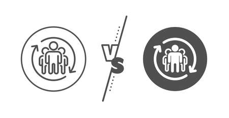 Employees rotation sign. Versus concept. Teamwork line icon. Core value symbol. Line vs classic teamwork icon. Vector  イラスト・ベクター素材