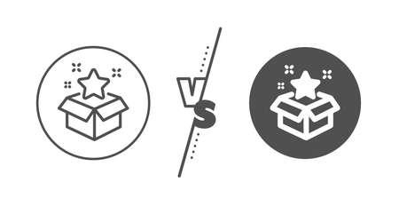 Bonus points. Versus concept. Loyalty program line icon. Discount box symbol. Line vs classic loyalty program icon. Vector  イラスト・ベクター素材