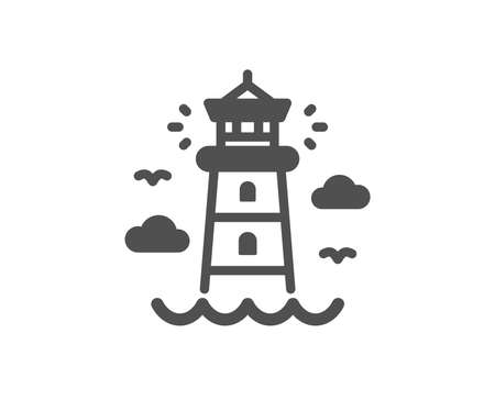Beacon tower sign. Lighthouse icon. Searchlight building symbol. Classic flat style. Simple lighthouse icon. Vector