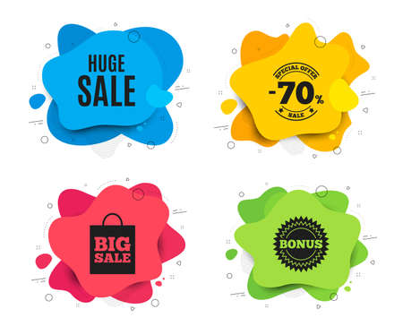Huge Sale. Liquid shape, various colors. Special offer price sign. Advertising Discounts symbol. Geometric vector banner. Huge sale text. Gradient shape badge. Vector  イラスト・ベクター素材