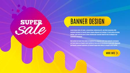 Super sale badge. Discount banner shape. Coupon bubble icon. Abstract background design. Banner with offer badge. Vector