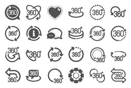 360 degree icons. Rotate arrow, VR panoramic simulation and augmented reality. 360 degree virtual gaming, abstract geometry, full rotation view icons. Vr tour, game reality. Quality set. Vector Ilustração
