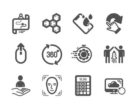 Set of Technology icons, such as Recruitment, Swipe up, Calculator, 360 degrees, Rotation gesture, Partnership, Smartphone waterproof, Seo timer, Journey path, Chemical formula. Vector