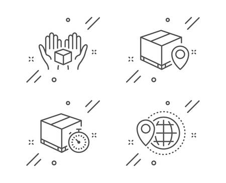 Hold box, Delivery timer and Parcel tracking line icons set. World travel sign. Delivery parcel, Express logistics, Package location pin. Map pointer. Transportation set. Vector