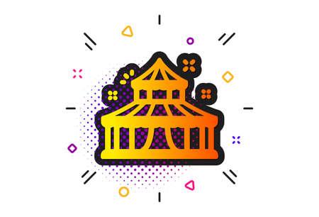 Amusement park sign. Halftone circles pattern. Circus icon. Classic flat circus icon. Vector Stock Vector - 129436478