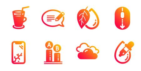 Message, Cocktail and Cloudy weather line icons set. Ab testing, Smartphone broken and Mineral oil signs. Scroll down, Eye drops symbols. Speech bubble, Fresh beverage. Business set. Vector Illustration