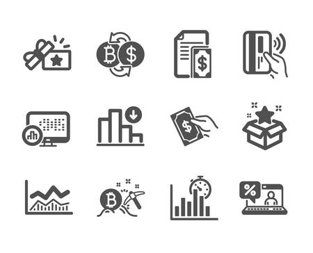 Set of Finance icons, such as Report timer, Bitcoin exchange, Trade infochart, Contactless payment, Loyalty gift, Pay money, Online loan, Loyalty program, Payment, Report statistics. Vector Illustration