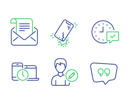 Select alarm, Time management and Mail newsletter line icons set. Edit person, Smartphone broken and Quote bubble signs. Time symbol, Laptop device, Open e-mail. Change user info. Vector Иллюстрация
