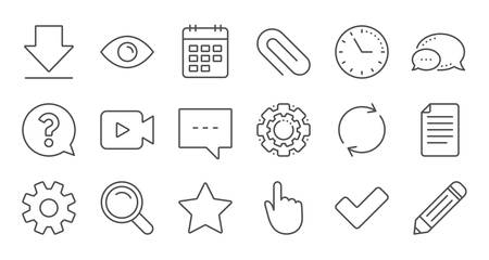 Document, Calendar and Question mark line icons. Search, Video camera and Check mark. Linear icon set. Quality line set. Vector  イラスト・ベクター素材