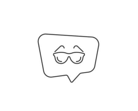 Eyeglasses line icon. Chat bubble design. Oculist clinic sign. Optometry vision symbol. Outline concept. Thin line eyeglasses icon. Vector