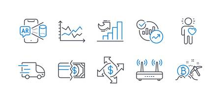 Set of Business icons, such as Statistics, Augmented reality, Payment methods, Truck delivery, Growth chart, Diagram chart, Friend, Payment exchange, Wifi, Bitcoin mining line icons. Vector