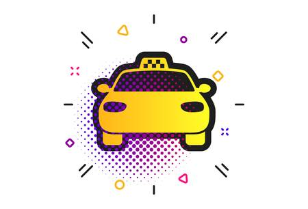 Taxi car sign icon. Halftone dots pattern. Public transport symbol. Classic flat taxi icon. Vector