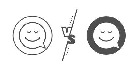 Chat emotion sign. Versus concept. Comic speech bubble with Smile line icon. Line vs classic smile icon. Vector