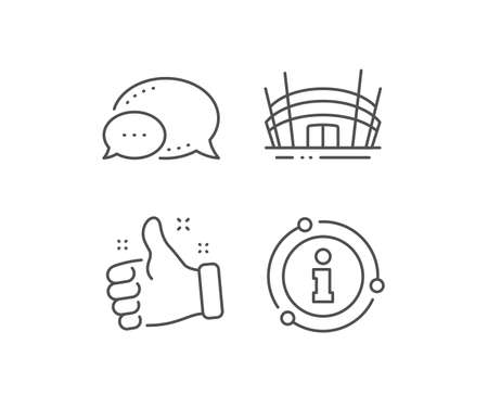 Arena stadium line icon. Chat bubble, info sign elements. Competition building sign. Sport complex symbol. Linear arena stadium outline icon. Information bubble. Vector Иллюстрация