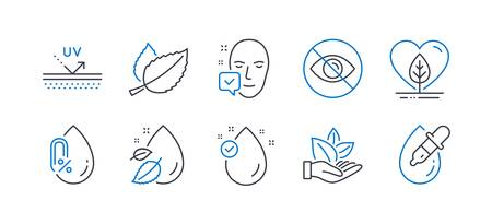 Set of Healthcare icons, such as Local grown, Face accepted, Uv protection, Not looking, Mint leaves, Organic product, Water drop, No alcohol, Vitamin e, Eye drops line icons. Vector Illustration