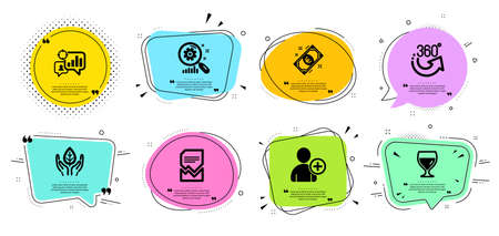 Wine glass, Fair trade and Seo statistics line icons set. Chat bubbles with quotes. Euro money, 360 degrees and Add user signs. Corrupted file, Search statistics symbols. Vector