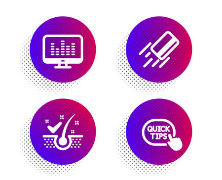 Anti-dandruff flakes, Credit card and Music making icons simple set. Halftone dots button. Quick tips sign. Healthy hair, Bank payment, Dj app. Helpful tricks. Technology set. Vector