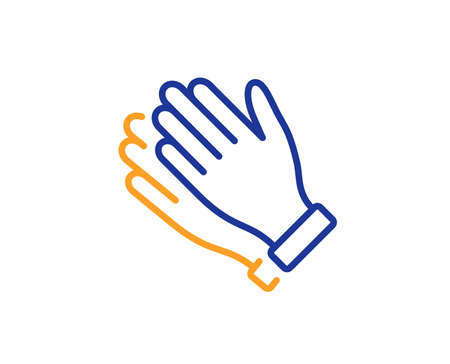 Clap sign. Clapping hands line icon. Victory gesture symbol. Colorful outline concept. Blue and orange thin line clapping hands icon. Vector
