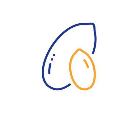 Tasty nut sign. Peanut line icon. Vegan food symbol. Colorful outline concept. Blue and orange thin line peanut icon. Vector