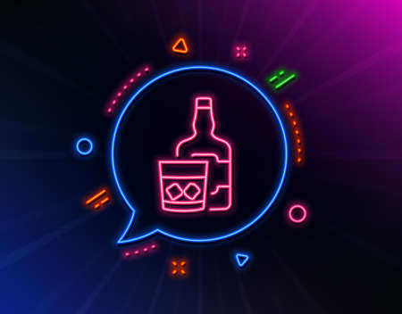 Whiskey glass with ice cubes line icon. Neon laser lights. Scotch alcohol sign. Glow laser speech bubble. Neon lights chat bubble. Banner badge with whiskey glass icon. Vector Ilustrace