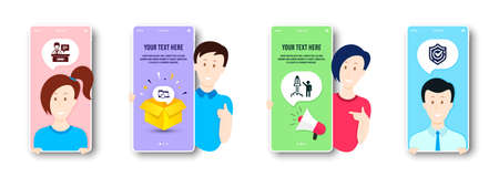 Launch project, Exhibitors and Recovery devices icons simple set. People on phone screen. Confirmed sign. Business innovation, Information desk, Backup data. Accepted message. Education set. Vector