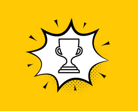 Award cup line icon. Comic speech bubble. Winner Trophy symbol. Sports achievement sign. Yellow background with chat bubble. Award cup icon. Colorful banner. Vector