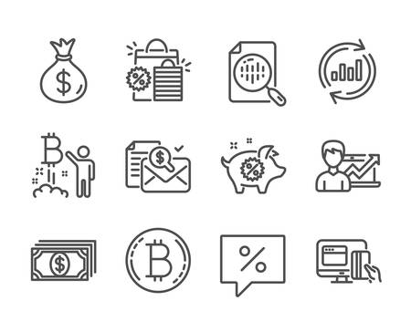 Set of Finance icons, such as Update data, Accounting report, Money bag, Shopping bags, Success business, Bitcoin project, Piggy sale, Analytics chart, Online payment, Discount message. Vector  イラスト・ベクター素材