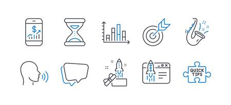 Set of Education icons, such as Time, Diagram graph, Speech bubble, Target, Jazz, Innovation, Start business, Mobile finance, Human sing, Quick tips line icons. Clock, Presentation chart. Vector Stockfoto - 129895013