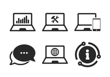 Internet globe sign. Chat, info sign. Notebook laptop pc icons. Repair fix service symbol. Monitoring graph chart. Classic style speech bubble icon. Vector