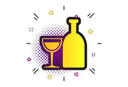 Alcohol sign icon. Halftone dots pattern. Drink symbol. Bottle with glass. Classic flat alcohol icon. Vector Illusztráció