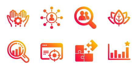 Organic tested, Seo analysis and Networking line icons set. Seo targeting, Puzzle and Employee hand signs. Search employees, Efficacy symbols. Bio ingredients, Targeting chart. Science set. Vector