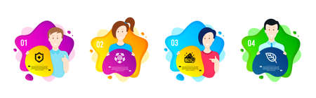 Medical shield, Eco organic and Cream icons simple set. People shapes timeline. Leaf sign. Medicine protection, Bio ingredients, Best lotion. Environmental. Healthcare set. Dynamic shape offer. Vector