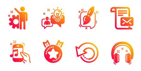 Music phone, Ranking star and Painting brush line icons set. Idea, Recovery data and Mail letter signs. Employee, Headphones symbols. Radio sound, Winner medal. Education set. Vector Иллюстрация