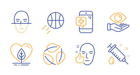 Local grown, Basketball and Face recognition line icons set. Medical phone, Health eye and Leaves signs. Healthy face, Medical syringe symbols. Organic tested, Sport ball. Healthcare set. Vector