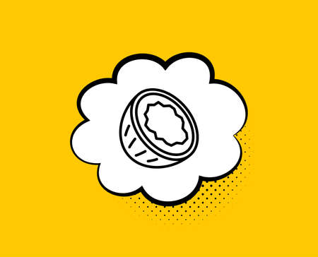Coconut line icon. Comic speech bubble. Tasty nut sign. Vegan food symbol. Yellow background with chat bubble. Coconut icon. Colorful banner. Vector