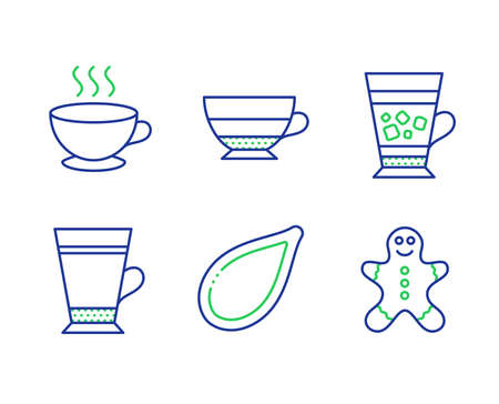 Frappe, Coffee cup and Americano line icons set. Pumpkin seed, Latte and Gingerbread man signs. Cold drink, Hot drink, Beverage cup. Vegetarian food. Food and drink set. Vector