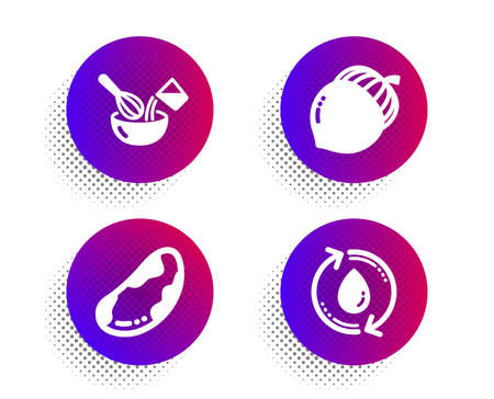 Brazil nut, Acorn and Cooking whisk icons simple set. Halftone dots button. Refill water sign. Vegetarian, Oaknut, Cutlery. Recycle aqua. Food and drink set. Classic flat brazil nut icon. Vector