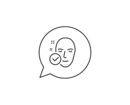 Health skin line icon. Chat bubble design. Face care sign. Cosmetic lotion symbol. Outline concept. Thin line health skin icon. Vector