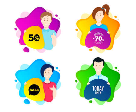 Today only sale symbol. People shape offer badge. Special offer sign. Best price. Dynamic shape offer. Worker person badge. Cut out people coupon. Today only text. Vector