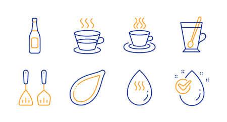Tea mug, Coffee cup and Tea cup line icons set. Hot water, Cooking cutlery and Beer signs. Pumpkin seed, Water drop symbols. Coffee mug, Aqua drop. Food and drink set. Line tea mug icon. Vector
