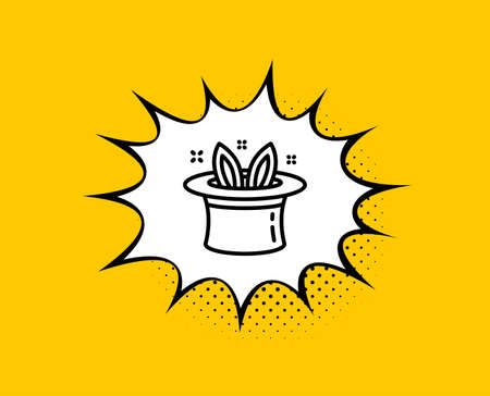 Hat-trick line icon. Comic speech bubble. Magic tricks with hat and rabbit sign. Illusionist show symbol. Yellow background with chat bubble. Hat-trick icon. Colorful banner. Vector