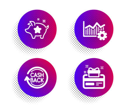 Loyalty points, Operational excellence and Cashback icons simple set. Halftone dots button. Loyalty card sign. Piggy bank, Corporate business, Refund commission. Bonus points. Finance set. Vector